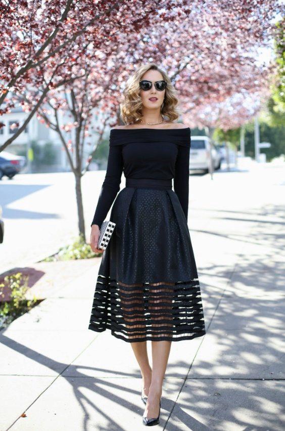 Черная юбка ниже колена пышная